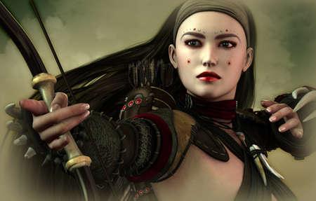 guerrero: una mujer joven asi�tica con arco y flecha Foto de archivo