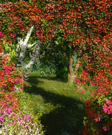 weeping willow tree: a landscape with bougainvillea, birch and weeping willow Stock Photo