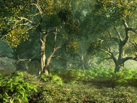gnarled: una pradera bosque con flores rosas y �rboles retorcidos Foto de archivo