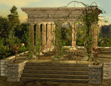 an ancient Greek temple with a burners and ivy photo