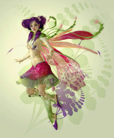 fairy wings: a graceful fairy with wings and a cute hairstyle