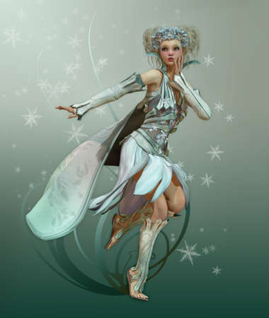 a graceful fairy with white dress and cape