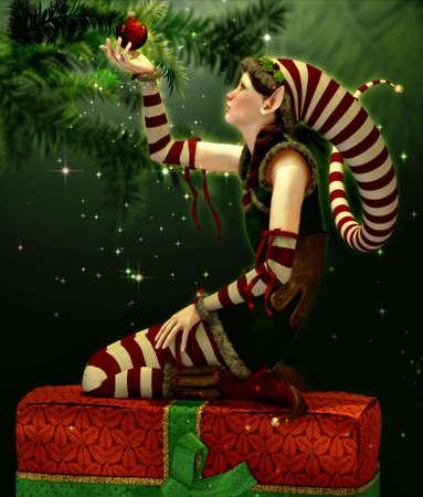 botas de navidad: Un lindo Duende de la Navidad con gorro puntiagudo Foto de archivo