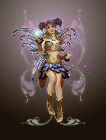 pixie: a graceful fairy with butterfly wings and a cute hairstyle Stock Photo
