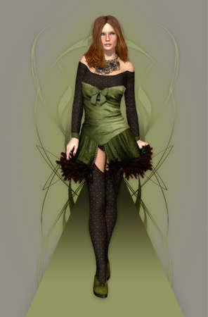 a female model in a stylish dress
