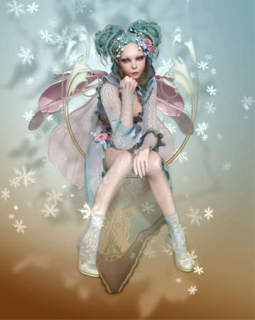 a graceful pixie with fairy dress and wings photo