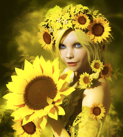 fairyland: a portrait of a young girl with sunflowers
