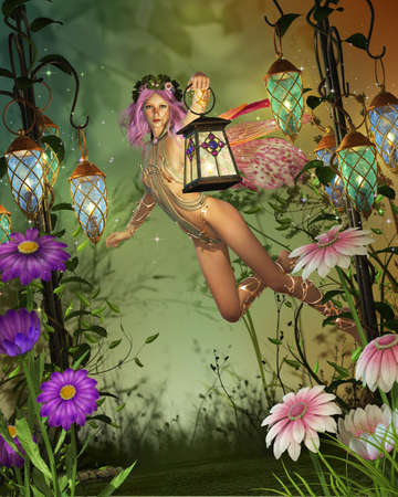 pixie: a flying fairy with a lantern Stock Photo