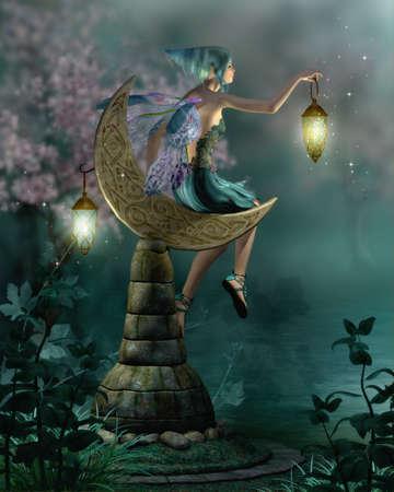 un duende pequeño con una linterna que se sienta en una luna de piedra Foto de archivo