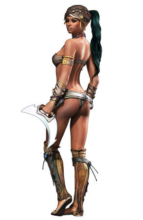 traditional weapon: portrait of a female Amazon warrior in fantasy style Stock Photo