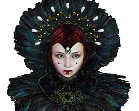 maquillaje de fantasia: retrato de una mujer joven con maquillaje de fantas�a