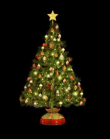 Ein Geschmückter Weihnachtsbaum In Clip Art Lizenzfreie Fotos