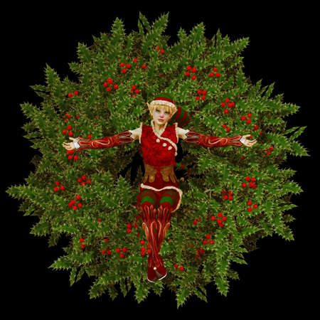 A cute Christmas elf is sitting in a christmas wreath photo