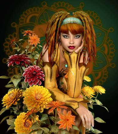 fairy garden: a girl with dreadlocks sits in the middle of dahlias