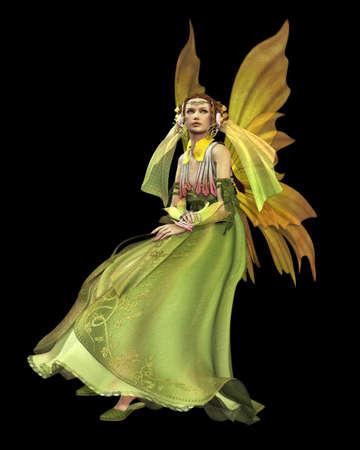 magical fairy: a magical fairy in a green dress