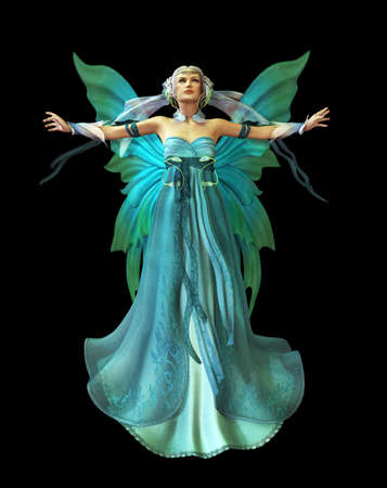 een magische fee in een turquoise jurk