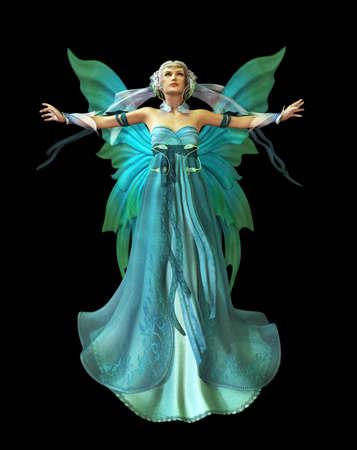 donna farfalla: una fata magica in un abito turchese