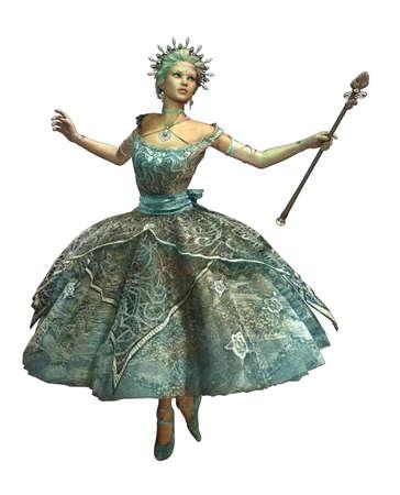 een dansende ijsprinses met bal toga en toverstaf