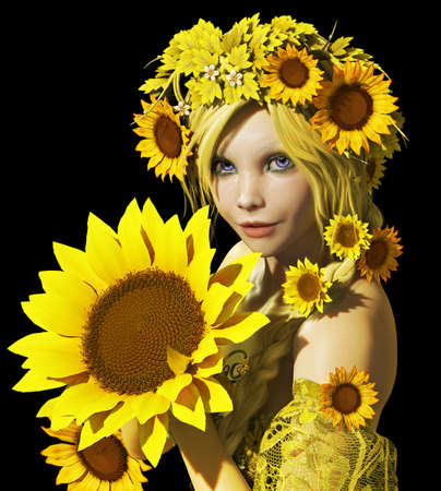 a portrait of a young girl with sunflowers photo