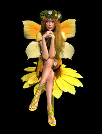 yellow daisy: a cute fairy in yellow dress is sits on a daisy