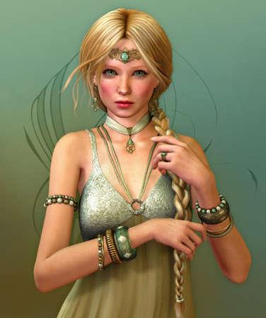 maquillaje fantasia: una mujer joven con una trenza larga y joyas