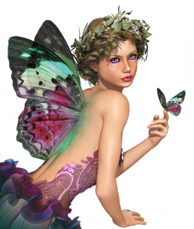 magic eye: a little fairy with a butterfly in her hand