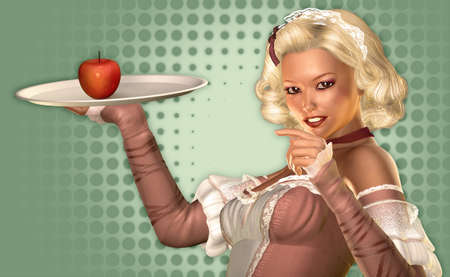 trays: a young woman in the style of the fifties holding a tray with an apple