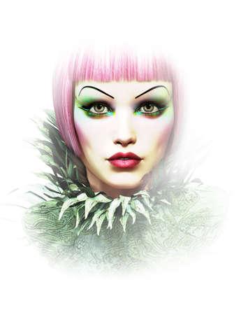 maquillaje fantasia: retrato femenino con el pelo corto y sombra de ojos de color