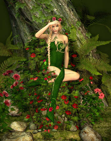 enchanted forest: a decorative illustration of a fairy in the woods Stock Photo