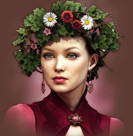 pixie: a portrait of a young lady with a wreath on her head