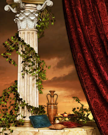 arte greca: scena accogliente con pilastro cuscino, frutta e tende Archivio Fotografico