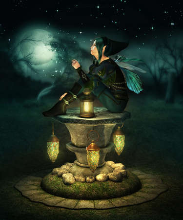 enchanted forest: a little pixie with lanterns sitting on a altar of stone