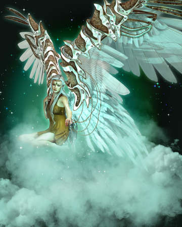 an illustration showing an angel sitting on a cloud illustration