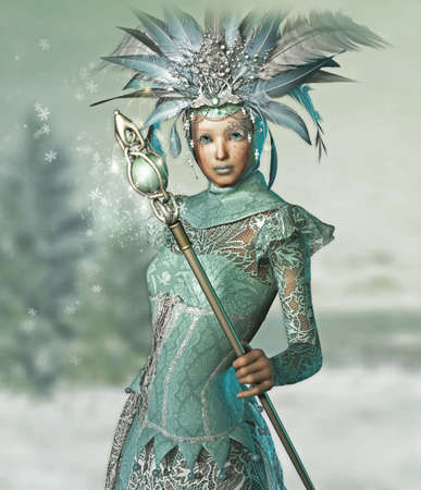 pixie: a snow queen with a lace dress and magic wand Stock Photo