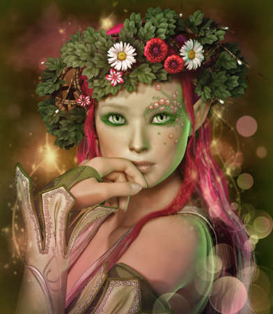 fantasy makeup: a portrait of an elven maid with a wreath on her head