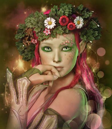 maquillaje de fantasia: un retrato de una doncella �lfica con una corona de flores en la cabeza