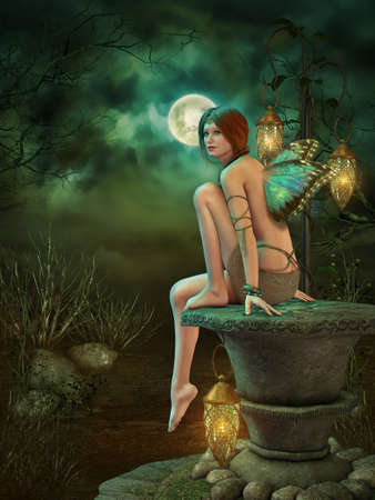 enchanted forest: a little pixie sitting on a pedestal of stone