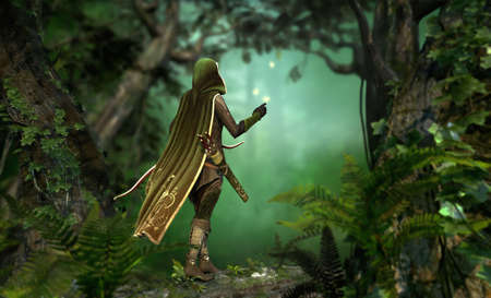 enchanted forest: a hunter in a hooded cape passes through the forest