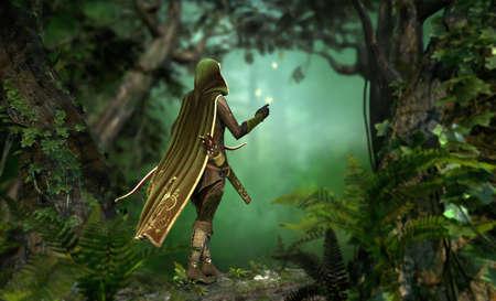 cazador: un cazador en una capa con capucha pasa a trav�s del bosque Foto de archivo