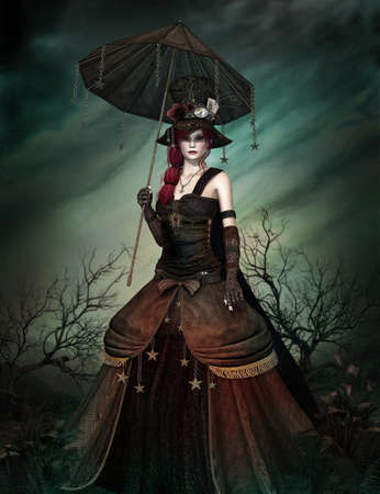 parasols: a strange lady in steampunk dress and umbrella Stock Photo