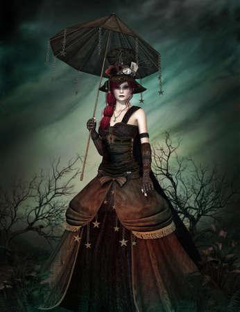 samhain: una extra�a dama en vestido steampunk y paraguas