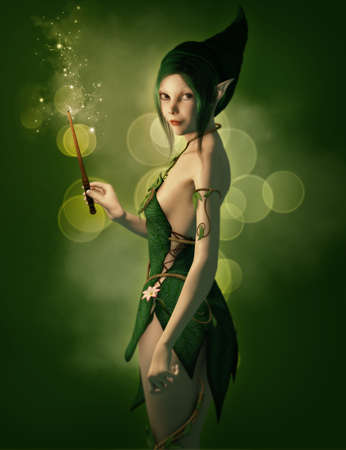 pointed to: a little elf with magic wand and a pointed cap Stock Photo