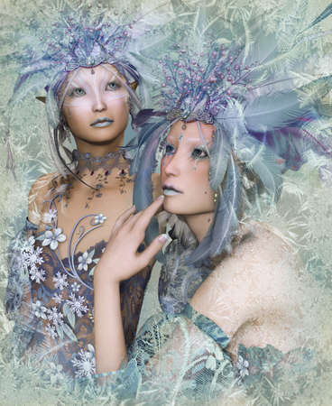 a portrait of two winter-elves with feather crowns photo