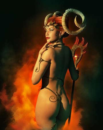 aries: una ilustraci�n de una mujer con cuernos de carnero