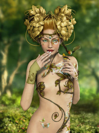 enchanted forest: an illustration of a nymph who lives in the forest with two songbirds