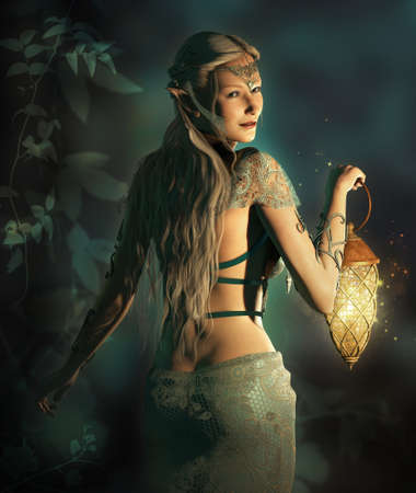 dark elf: an elf princess lights up the way to the woodland area