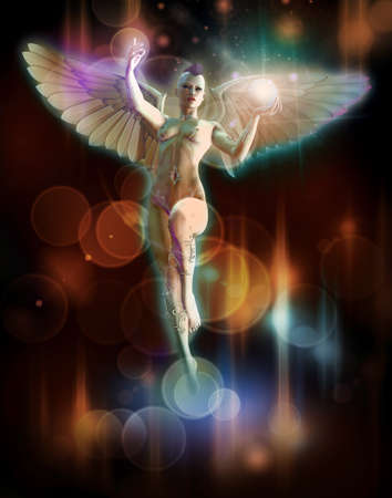 a nude angel with white wings and a glowing ball in the hand Stock Photo - 17317275
