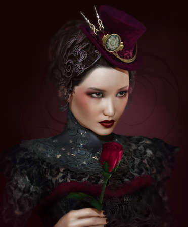a portrait of a lady with a rose photo