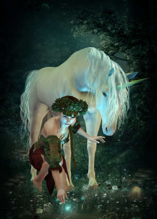 mystical forest: a girl and a unicorn watching fireflies at a pond Stock Photo
