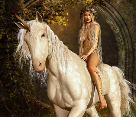 servant: a maiden riding a unicorn in the fairy forest Stock Photo